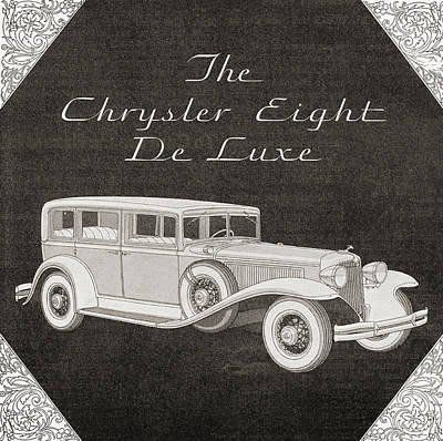 Motorcar Drawing - A 1930s Advertisement For A Chrysler by Vintage Design Pics