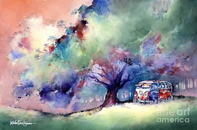 A 23 Window Vw Bus At Rest Print by Michael David Sorensen