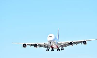Photograph - A 380 Landing  by Puzzles Shum