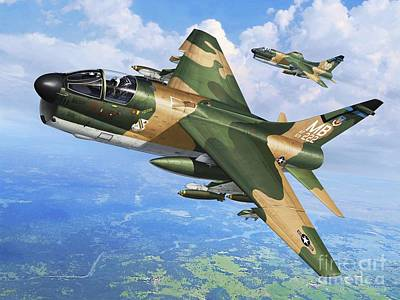 Vietnam War Digital Art - A-7d Corsair II by Stu Shepherd