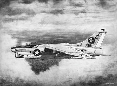 Drawing - A-7e Corsair II by Douglas Castleman