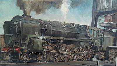 Painting - A 9f On Shed by Mike Jeffries