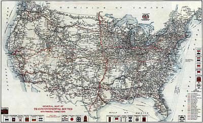 A A A United States Road Map 1912 Art Print