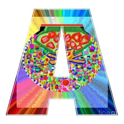 Painting - A Aa Aaa Alpha Art On Shirts Alphabets Initials   Shirts Jersey T-shirts V-neck By Navinjoshi by Navin Joshi