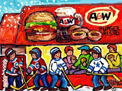 Montreal Restaurants Painting - A And W Hamburgers And Root Beer Canadian Hockey Art Winter Scene Montreal Paintings Carole Spandau  by Carole Spandau
