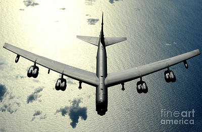 A B-52 Stratofortress In Flight Art Print by Celestial Images