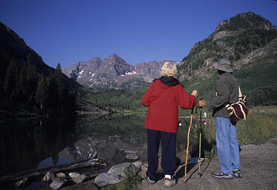 A Baby Boomer Couple Admire The View Art Print
