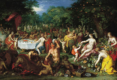 Painting - A Bacchanal by Hendrick van Balen