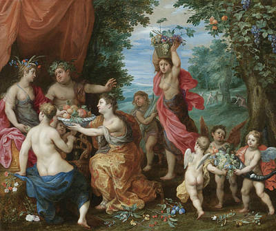 Painting - A Bacchanal With Ceres, Bacchus And Venus by Hendrick van Balen