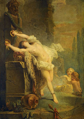 Painting - A Bacchante Playing The Cymbals Before A Statue Of Pan by Attributed to Antoine-Francois Callet