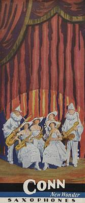 Saxophone Painting - A Band On Stage Playing Charles Gerard Conn Saxophones by American School
