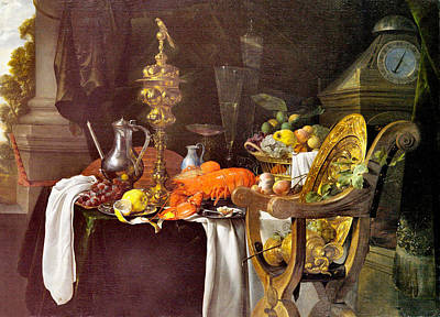 Photograph - A Banqueting Scene by Jan Davidsz de Heem