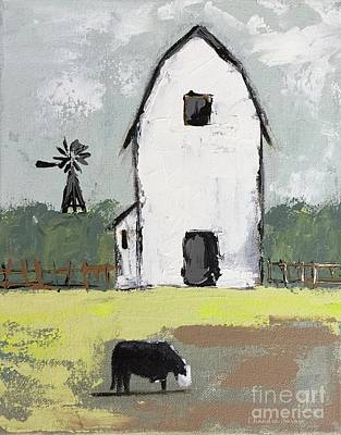 Farmhouse Wall Art - Painting - A Barn And A Cow by Chandra Savaso
