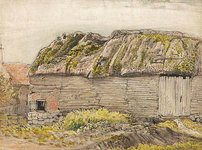 Old Barn Painting - A Barn With A Mossy Roof - Shorham by Samuel Palmer