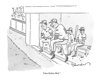 Fashion Drawing - A Baseball Player Leans Out Of The Dugout by Danny Shanahan