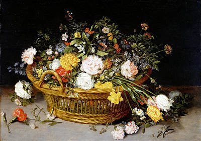 Photograph - A Basket Of Flowers. by Jan Brueghel the Younger