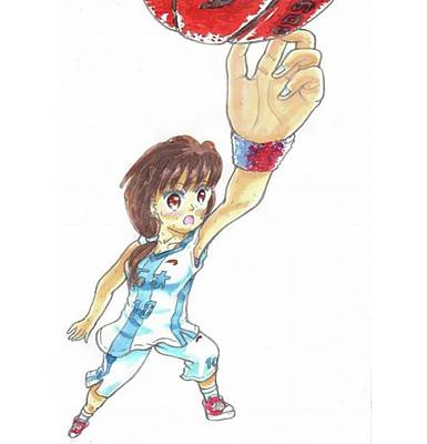 Sports Drawing - A Basketball Girl by Hisashi Saruta