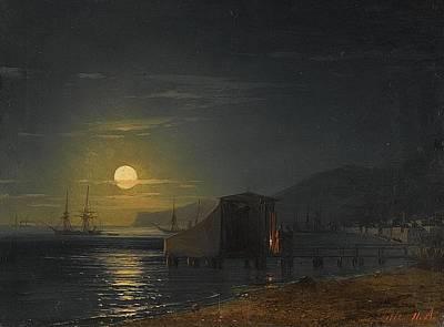 Sailing At Night Painting - A Bathing Hut, Theodosia  by Ivan Konstantinovich Aivazovsky