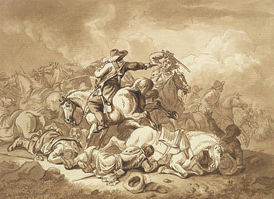 Drawing - A Battle Scene by Ferdinand Kobell