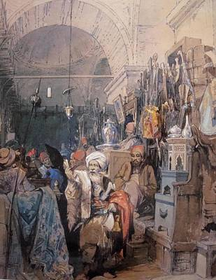 Turkish Painting - A Bazaar by Amedeo Preziosi