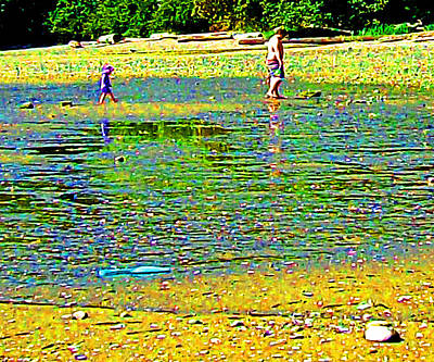 Digital Art - A Beach Day - Dad And Son by Joseph Coulombe