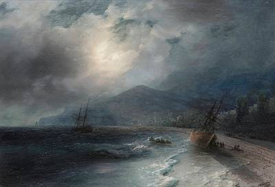 Sailing At Night Painting - A Beached Ship by Ivan Konstantinovich Aivazovsky