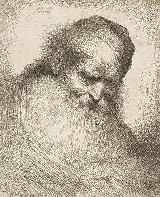 Relief - A Bearded Man Wearing A Cap Looking Down To The Right by Treasury Classics Art