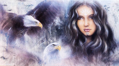 Radiating Chakra Painting - A Beautiful Airbrush Painting Of An Enchanting Woman Face With Two Flying Eagles by Jozef Klopacka