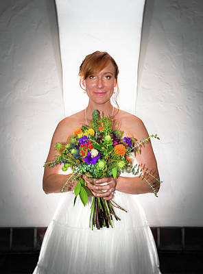 Photograph - A Beautiful Backlit Bride And Her Bouquet by T Brian Jones