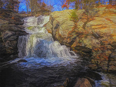 Digital Art - A Beautiful Connecticut Waterfall. by Rusty R Smith