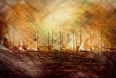 A Beautiful Day For A Sail Boat Race  Art Print