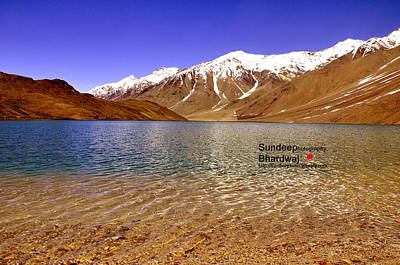 Painting - A Beautiful Lake On Himalayas Of Unforgetable Himachal In Incredible IIndia by Sundeep Bhardwaj Kullu sundeepkulluDOTcom