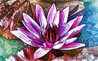 A Beautiful Purple Water Lilies Flower Art Print