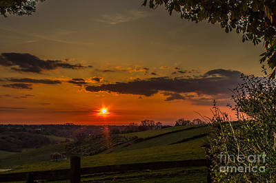 A Beautiful Sunset Over The Surrey Hills Art Print