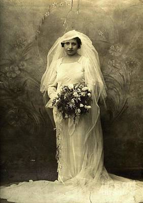 A Beautiful Vintage Photo Of Coloured Colored Lady In Her Wedding Dress Art Print