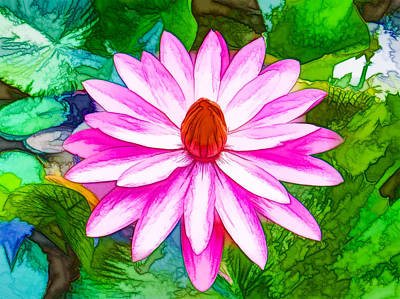 Red Painting - A Beautiful Waterlily by Lanjee Chee