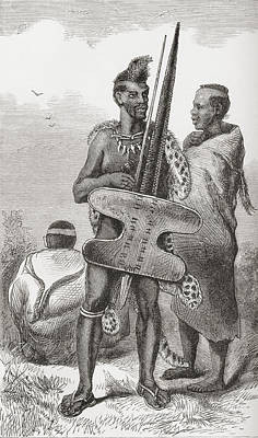 A Bechuana Warrior In The 19th Century Art Print by Vintage Design Pics