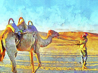 Digital Art - A Bedouin And His Camel by Digital Photographic Arts