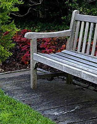 A Bench In The Garden Art Print