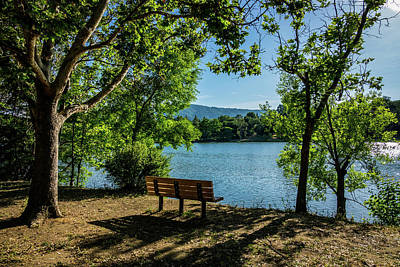 A Bench Overlooking Vasona Lake Art Print