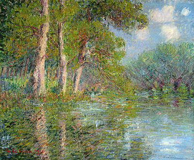 Tree Leaf On Water Painting - A Bend In The Eure by Gustave Loiseau