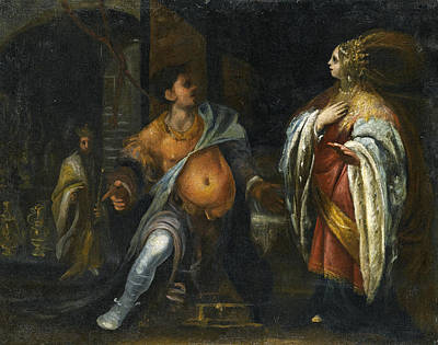 Esther Painting - A Biblical Subject Probably Esther Standing Before Haman Behind Them King Ahasuerus by Cecco Bravo