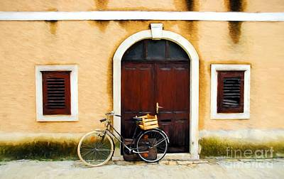 A Bicycle In Croatia Art Print by Mel Steinhauer