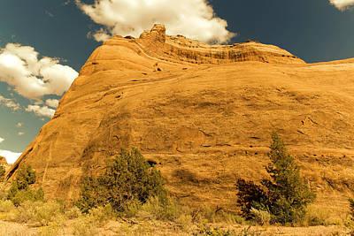 A Big Mountainous Rock On The Gemini Trail Moab Utah  Art Print