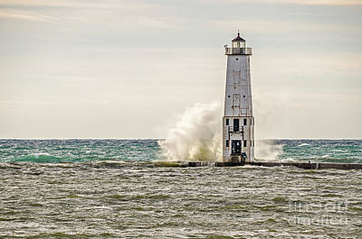 Photograph - A Big Wave Crashes Into The Frankfort Light by Sue Smith