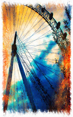 Riesenrad Painting - A Big Wheel Roller Coaster Ride Under A Sunset by Lanjee Chee
