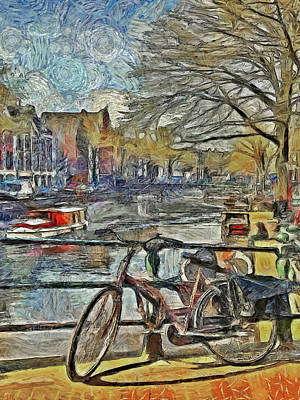 Digital Art - A Bike, A Boat, And A Canal by Digital Photographic Arts