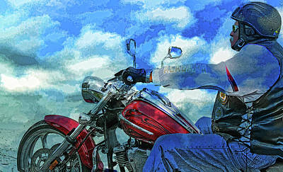 Mixed Media - A Bikers Euphoric Journey by Lesa Fine
