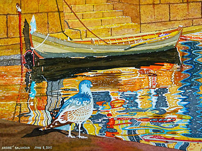Painting - A Bird A Boat And Reflections by Andre Salvador