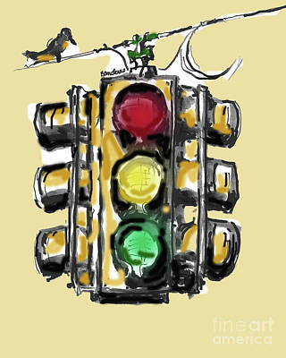 Painting - A Bird And Traffic Light by Terry Banderas